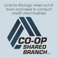Look for this logo when out of town and need to conduct credit undion business. CO-OP Shared Branch logo.