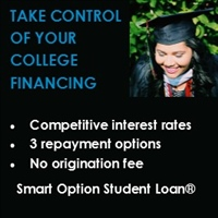 Take control of your college financing with competitive interest rates, three repayment options and no origination fee with Smart Option Student Loans.