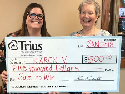 Branch Manager Brittany and Save To Win winner Karen V with $500 big check