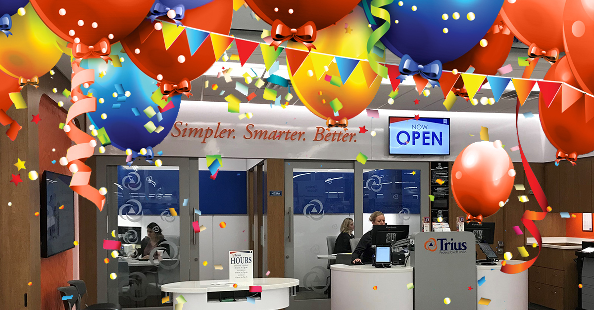 Photo of the Walmart Supercenter Branch with balloons and confetti