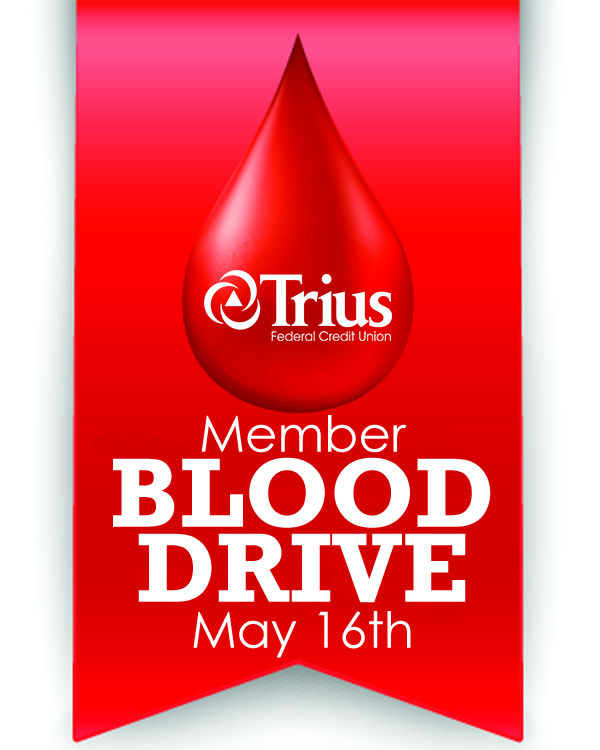 Member Blood Drive graphic, red banner with Trius logo