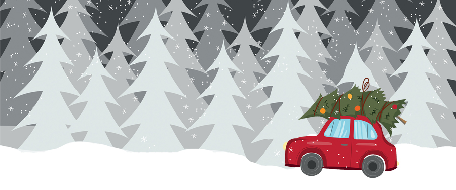 Winter scene graphic with trees and car