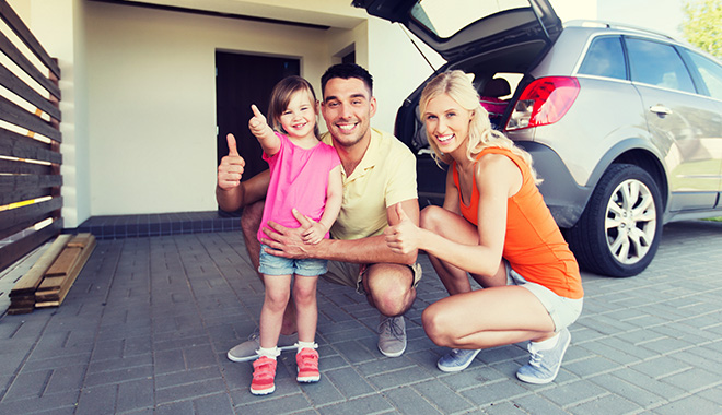 Family with car and home
