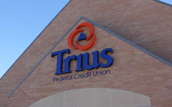 Trius logo sign on front of Kearney Main building.