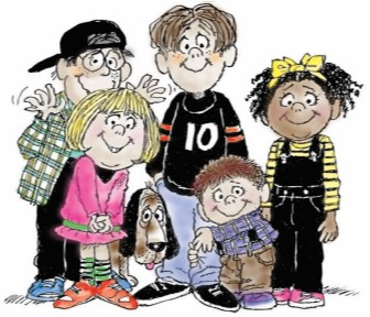 Cartoon drawing of a variety of kids.