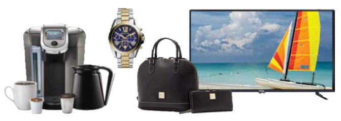 Item you can earn with points, krups coffee maker, men's watch, luggage, flat screen TV.