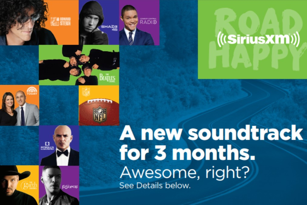 SiriusXM talent poster.  A new soundtrack for 3 months with an auto loan on an eligible pre-owned vehicle.  Ask your credit union rep for details.