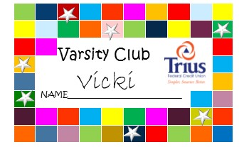 Example of the Varsity Club card.  Card includes name and 50 rectangles of varying colors that can be punch when a deposit is made.