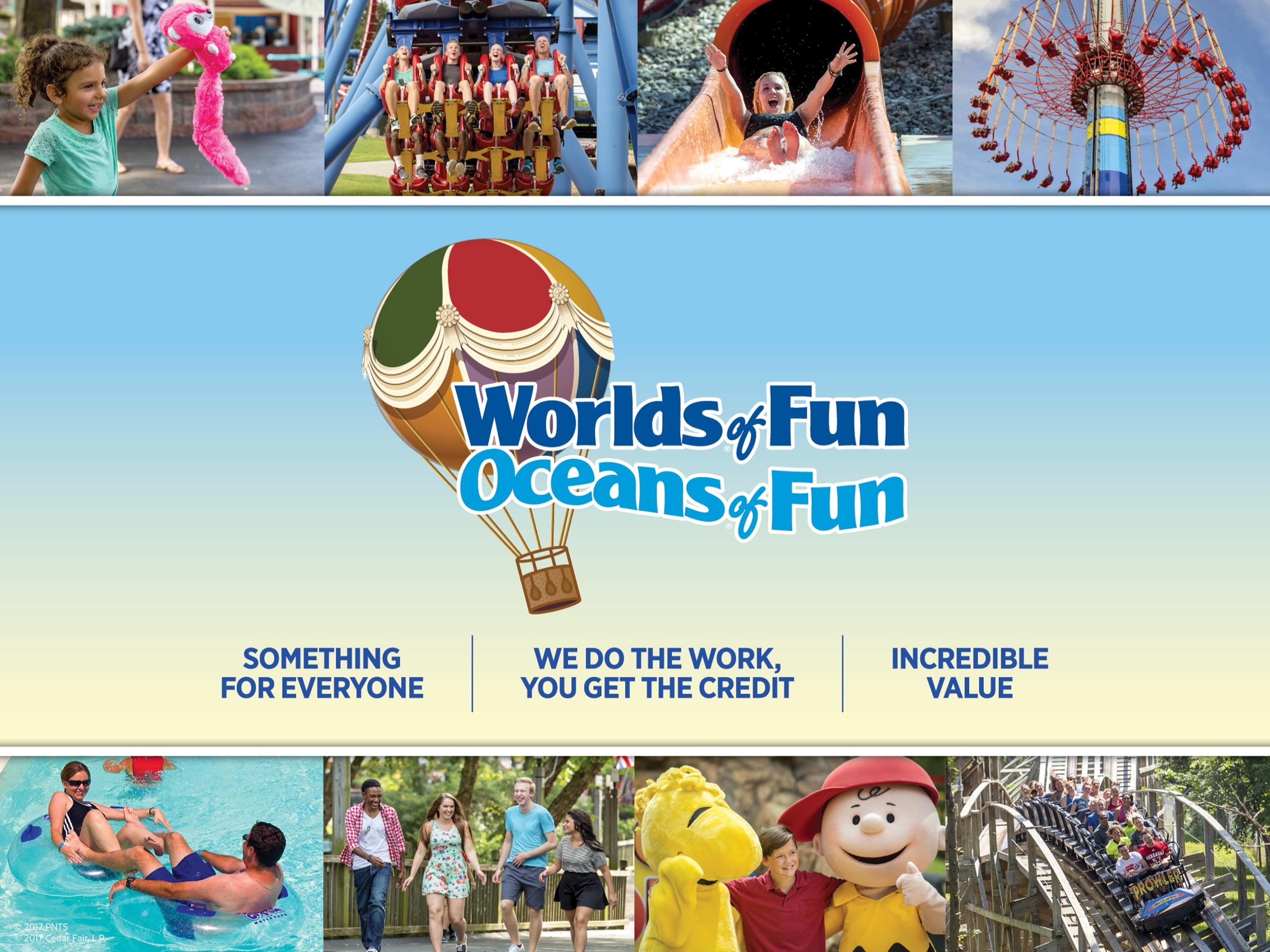 Worlds of Fun Oceans of Fun logo with several pictures of kids playing at the parks