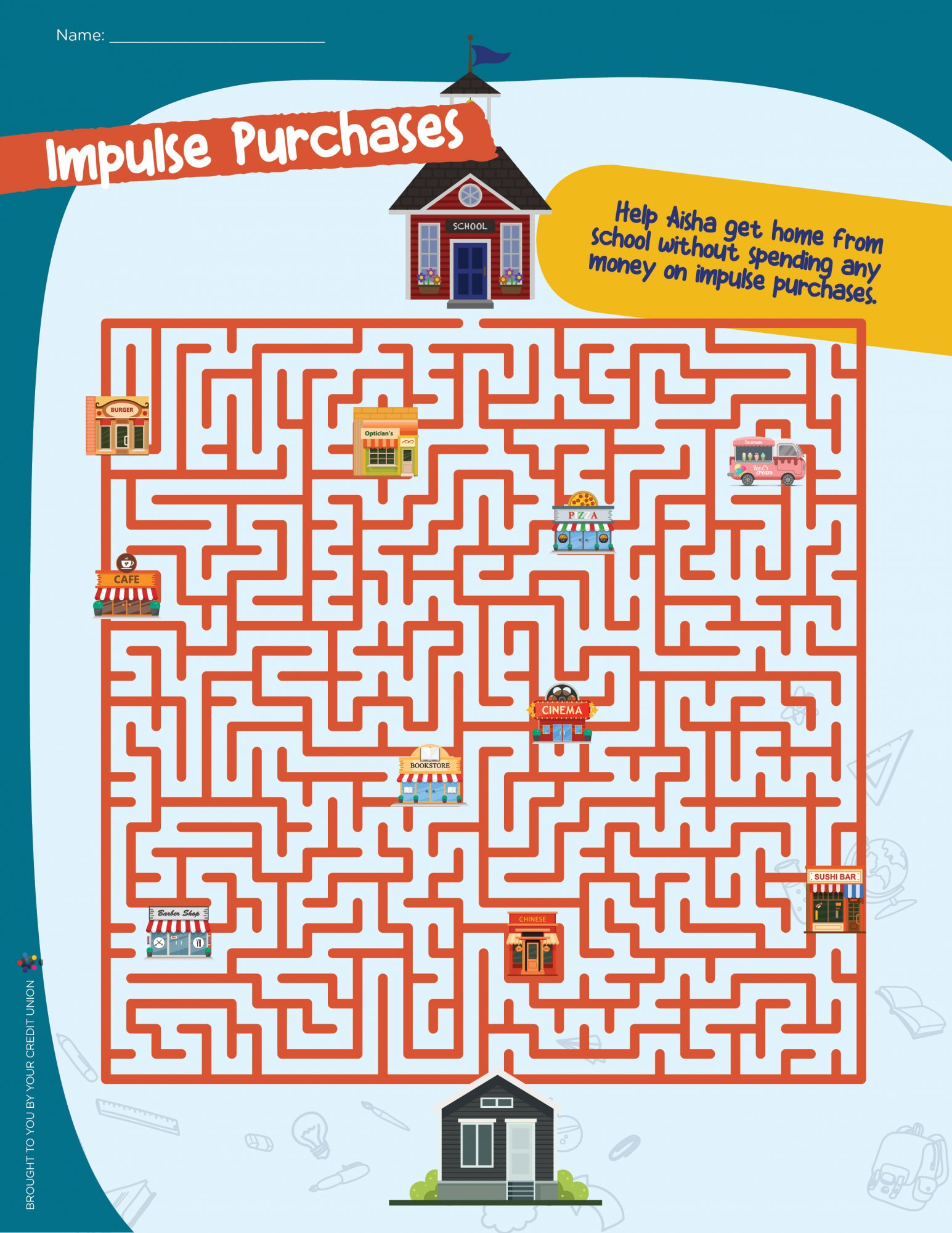 Help Aisha get home from school maze