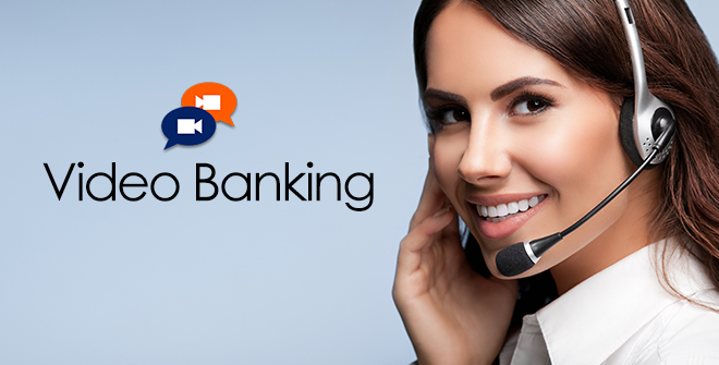 female with video banking icon